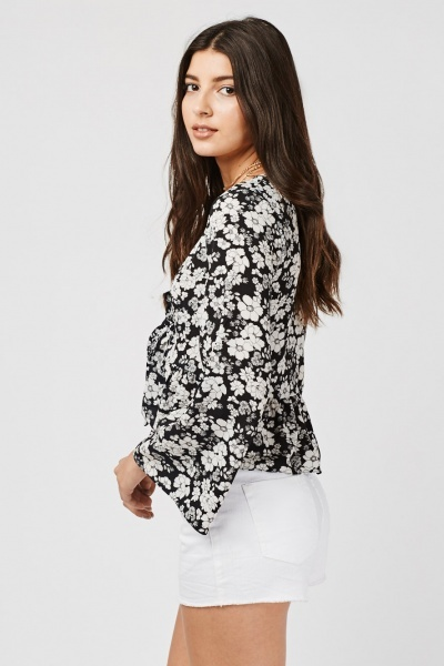 Printed Tie Up Frilly Hem Top