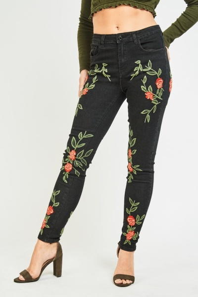 Rose Flower Embroidered Skinny Jeans