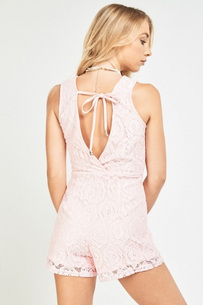 V-Neck Lace Overlay Wrap Playsuit