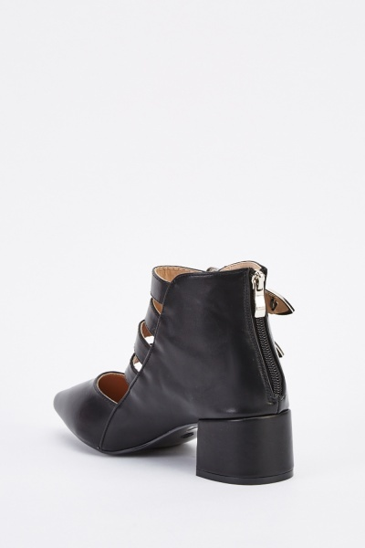Cut Out Buckle Court Boots