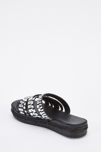 Encrusted Faux Leather Sliders