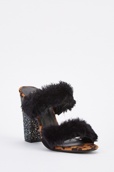 Fluffy Glittered Heel Contrast Mules