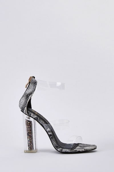 Glittered Transparent Strap Sandals