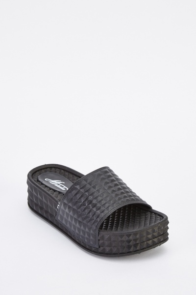 Textured Slip-On Platform Sliders