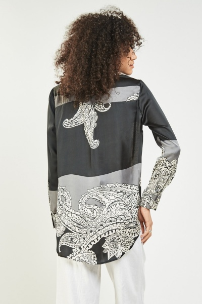 Arabesque Print Sateen Blouse