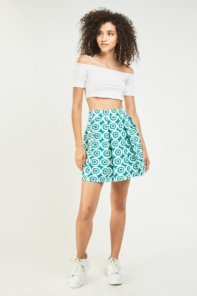 Box Pleated Retro Print Skirt