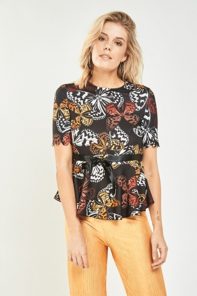 Butterfly Print Peplum Top