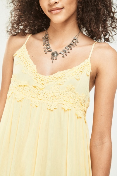 Crochet Trim Frilly Sun Dress
