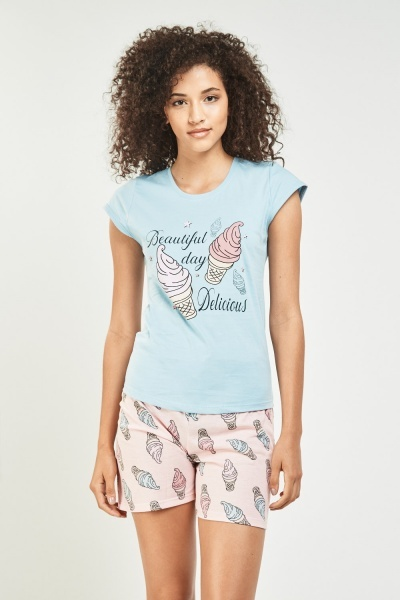 Ice-Cream Print Pyjama Set