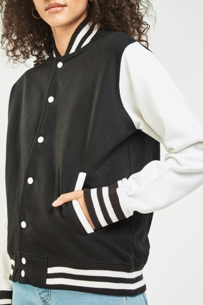 Ribbed Stripe Baseball Jacket