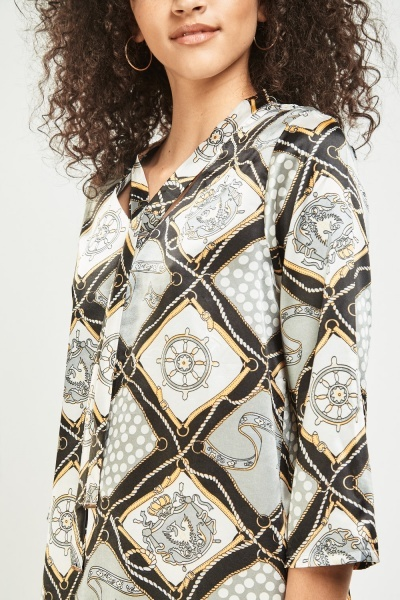 Vintage Novelty Print Sateen Blouse