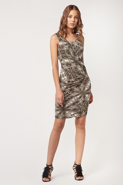 Animal Printed Ruched Front Dress