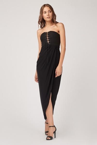 Bandeau Lace Up Wrap Maxi Dress