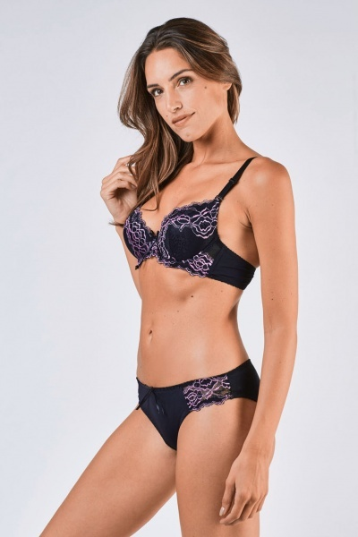 Lace Overlay Push Up Bra And Brief Set