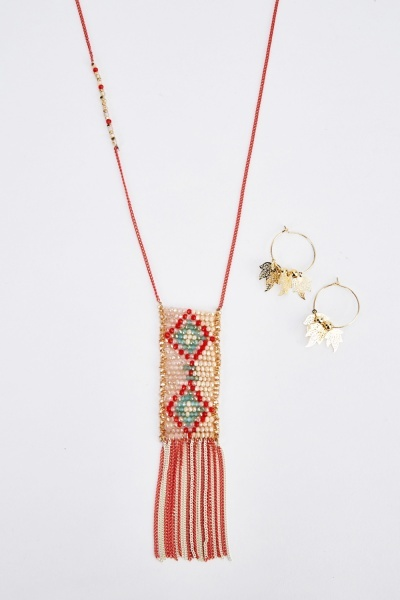 Beaded Dangled Necklace And Earrings Set