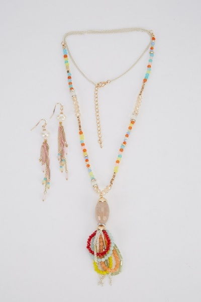 Beaded Embellished Y-Necklace And Earrings Set