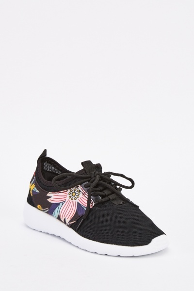 Floral Perforated Contrast Trainers