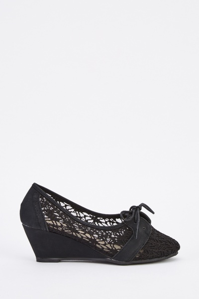 Laser Cut Lace Overlay Wedge