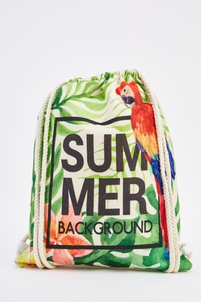 Tropical Print Canvas Drawstring Bag