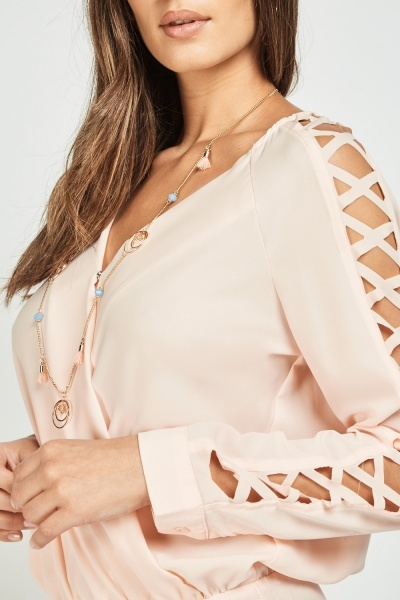 Criss Cross Sleeve Wrap Bodysuit