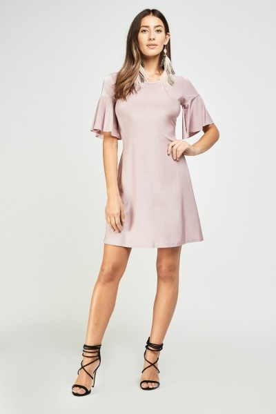 Frilly Sleeve Flared Tunic Dress