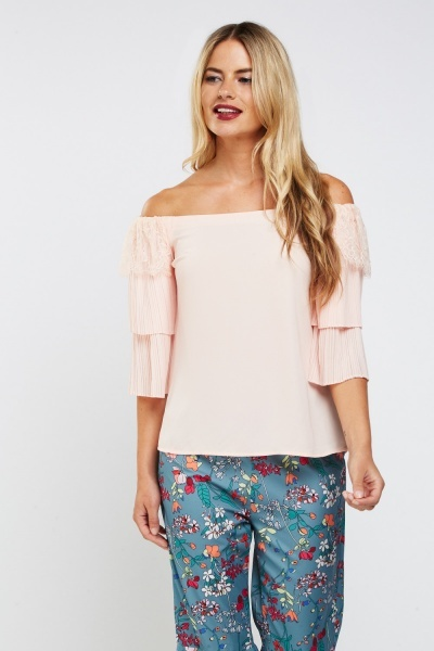 Lace Sheer Pleat Contrast Bardot Top