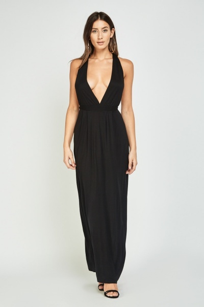 Low Plunge Basic Maxi Dress