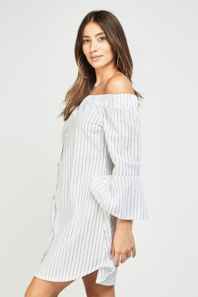 Off Shoulder Frilly Striped Dress