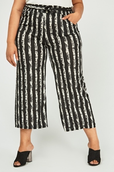 Striped Sheer Cropped Trousers