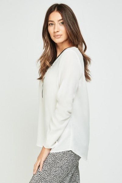 Zipper Front Long Sleeve Blouse