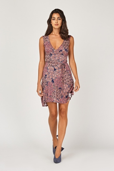 Arabesque Print Mini Wrap Dress