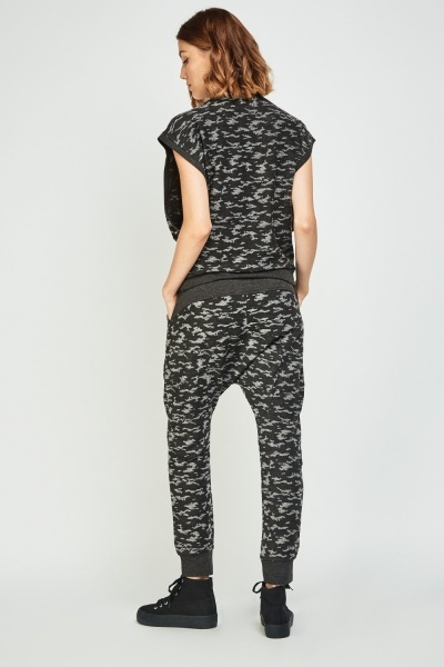Embellished Camouflaged Top And Joggers Set