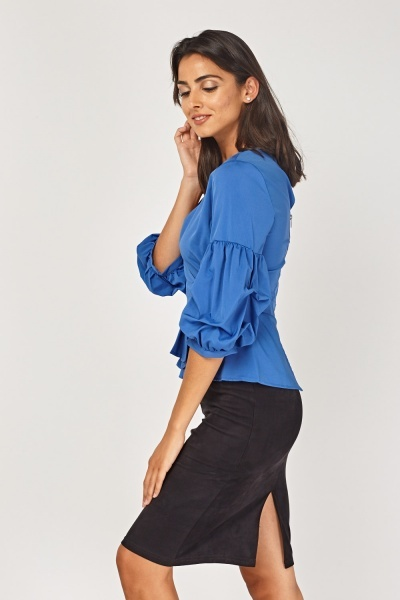 Pleated Hem Wrap Peplum Top