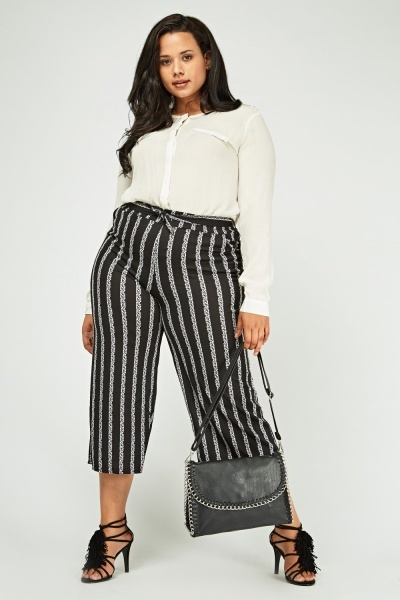 Speckled Striped Cropped Trousers