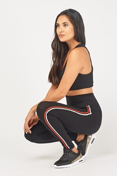 Striped Side Black Sports Leggings
