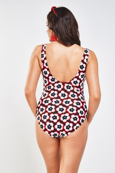 Vintage Mixed Print Swimsuit