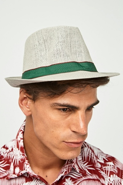 Contrast Trim Mens Fedora Hat