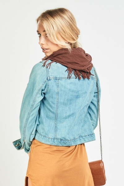 Contrasted Tassel Trim Ombre Scarf