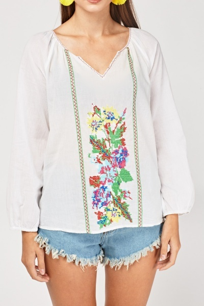 Hand Embroidered Tunic Blouse