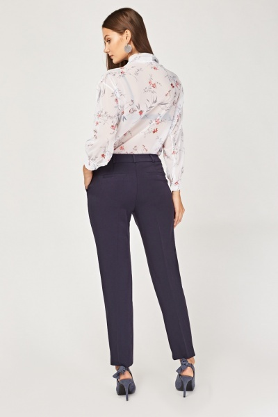 Mid Rise Cigarette Trousers