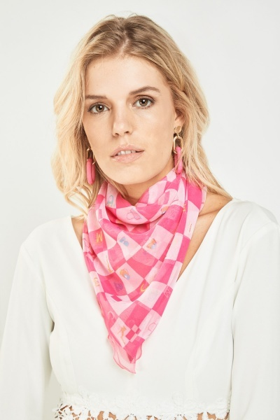 Printed Checked Sheer Scarf