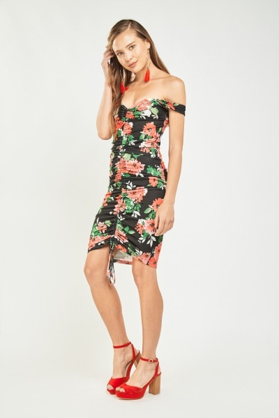 Printed Ruched Front Bodycon Dress