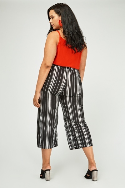 Vertical Striped Cropped Trousers