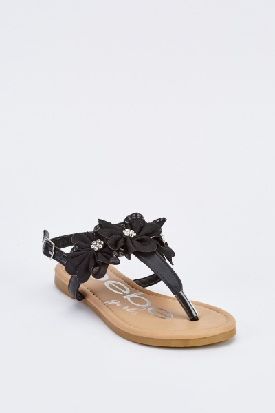 3D Flower Ankle Strap Shoes