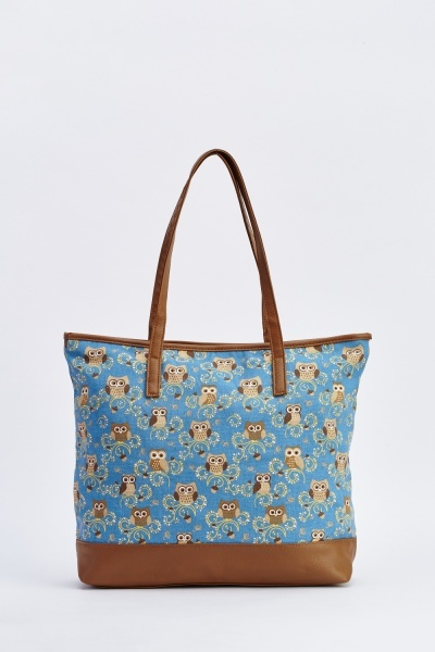 Large Owl Print Shopper Bag