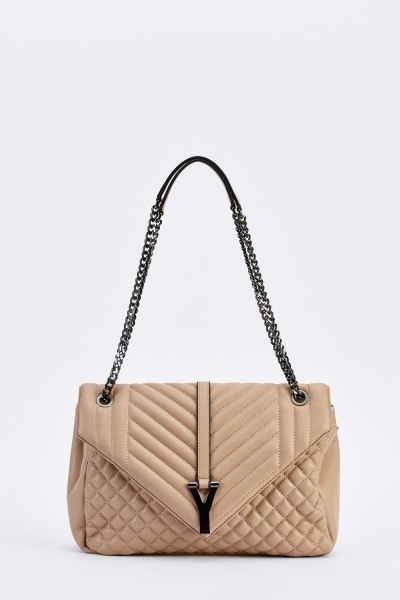 Large Quilted Faux Leather Shoulder Bag