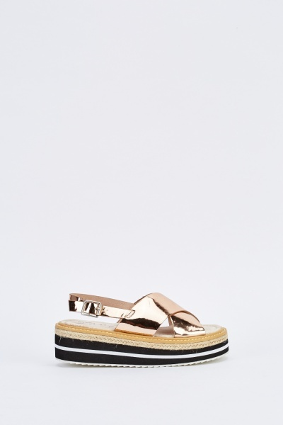 Metallic Cross Over Platform Sandals