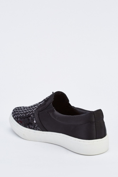 Slip On Sequin Contrast Plimsolls