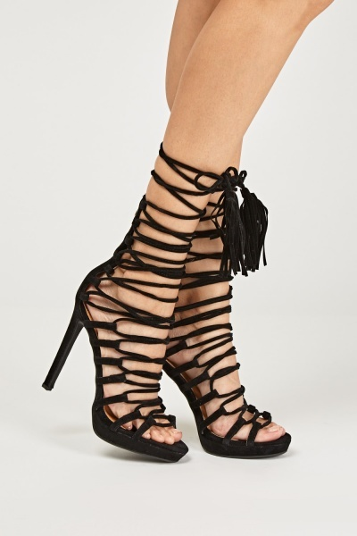 Suedette Lace Up High Heels