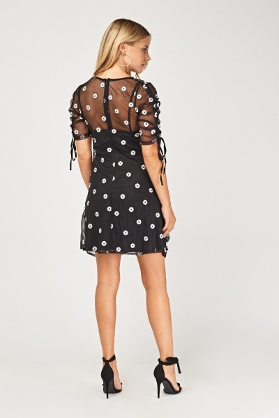 Flower Mesh Overlay Ruched Dress